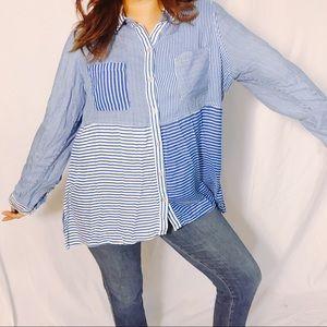 {WESTBOUND} Blue & White Striped Button Down Top